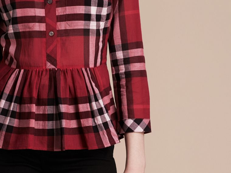 Poppy red Check Cotton Peplum Shirt Poppy Red - cell image 4
