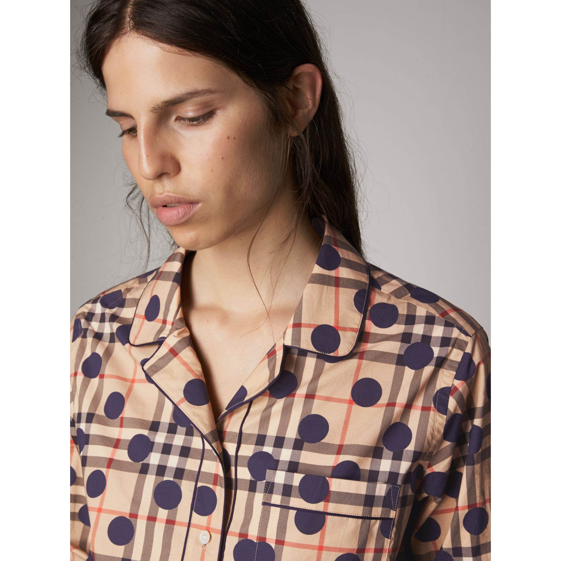 Polka-dot Check Cotton Pyjama-style Shirt in Navy - Women | Burberry - gallery image 1
