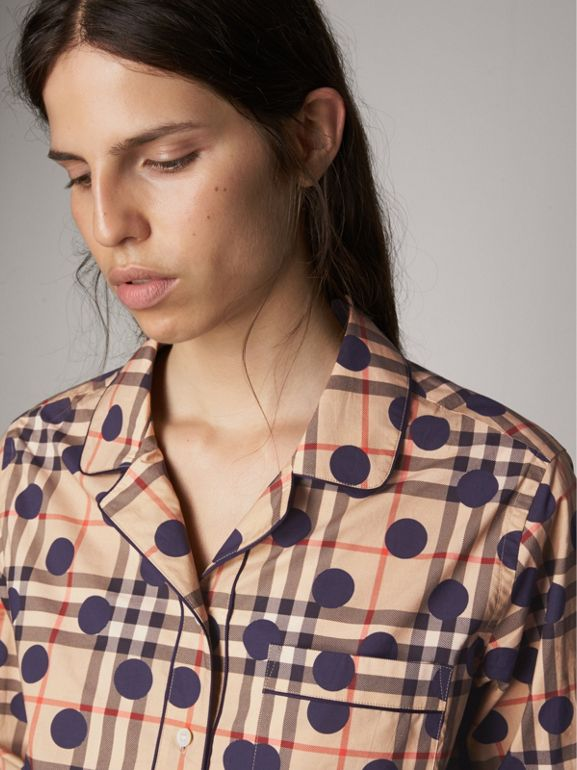 Polka-dot Check Cotton Pyjama-style Shirt in Navy - Women | Burberry - cell image 1