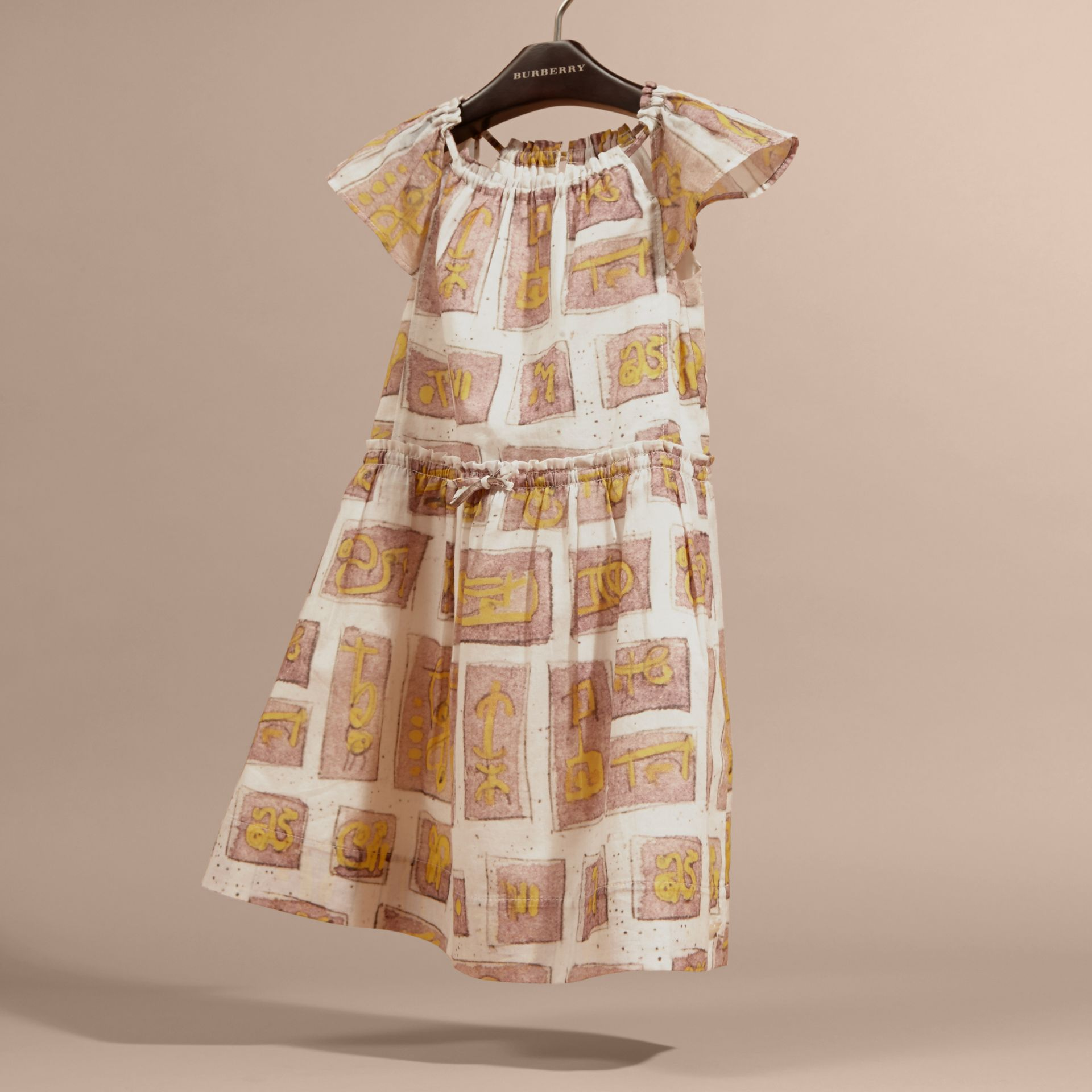 Framed Motifs Print Cotton Dress in Pale Ash Rose | Burberry Canada - gallery image 3