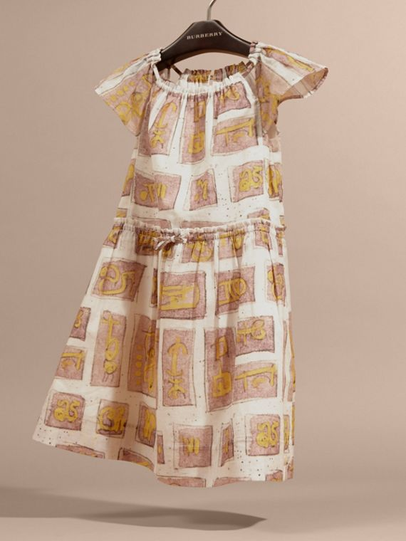 Framed Motifs Print Cotton Dress in Pale Ash Rose | Burberry Canada - cell image 2