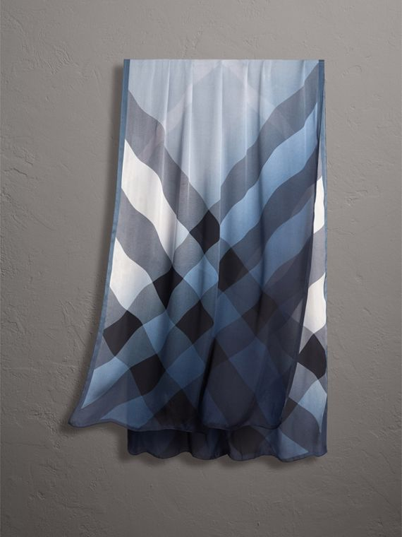 Ombré Washed Check Silk Scarf in Dusty Blue