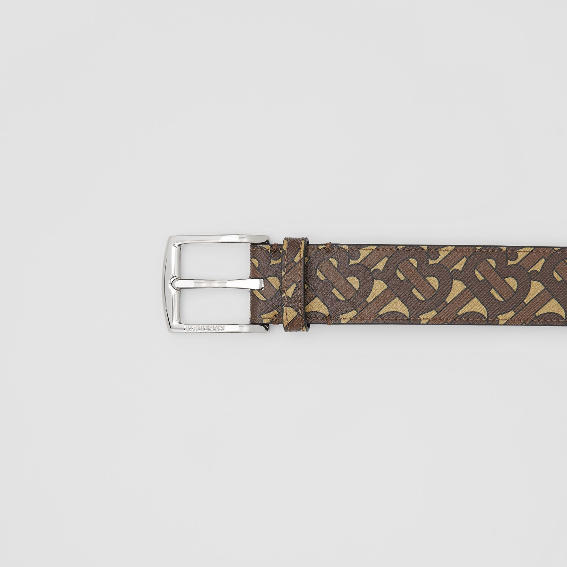 Monogram E-canvas Belt in Bridle Brown - Men | Burberry Singapore - gallery image 1