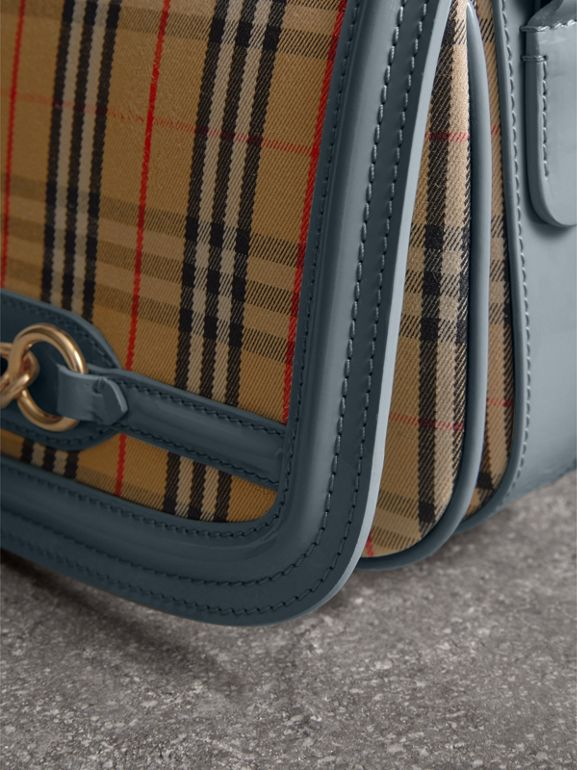Borsa The Link con motivo tartan del 1983 e finiture in pelle verniciata (Blu Salvia) - Donna | Burberry - cell image 1