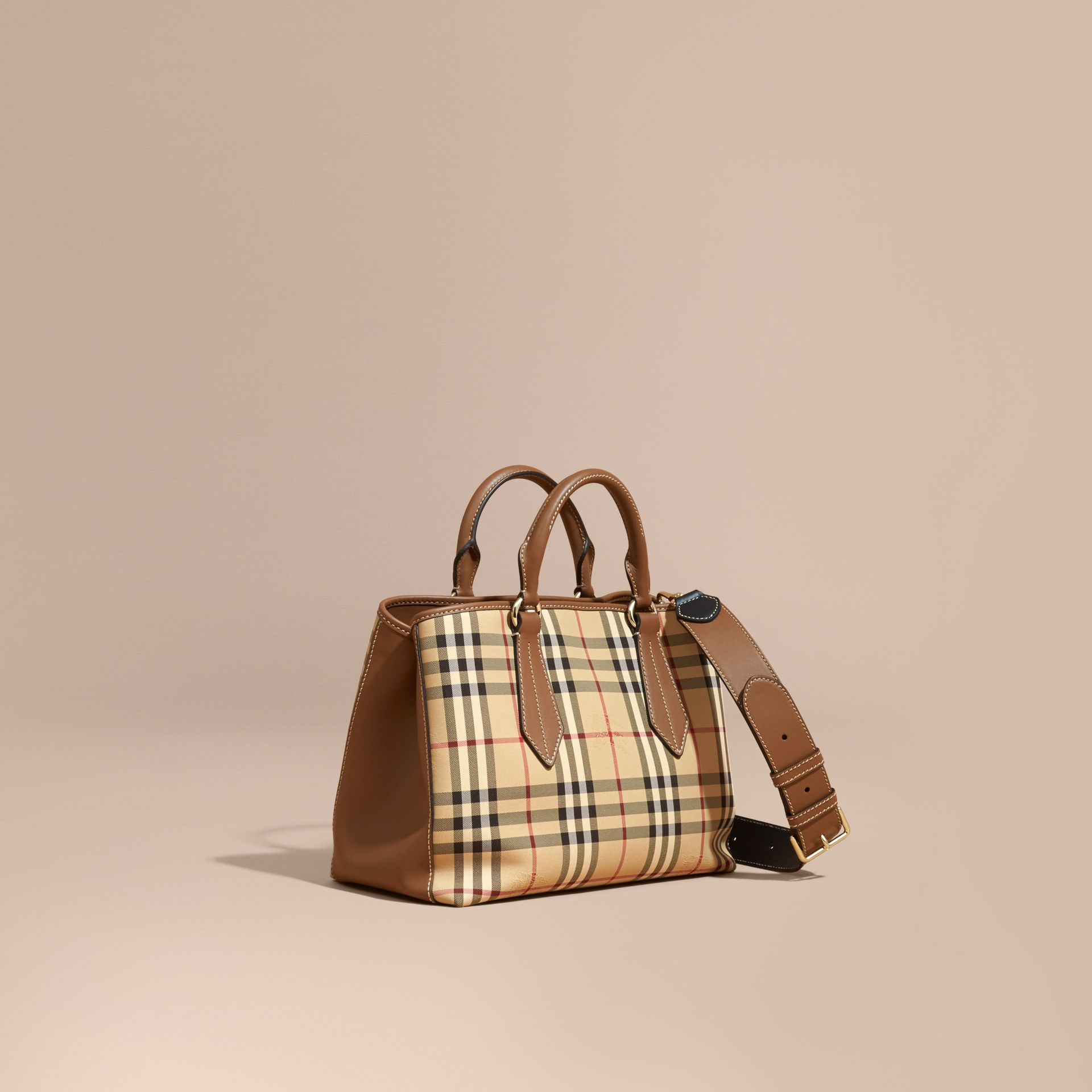 Leather Trim Horseferry Check Tote in Honey/tan - gallery image 1