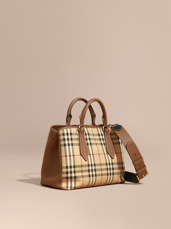 Leather Trim Horseferry Check Tote Honey/tan