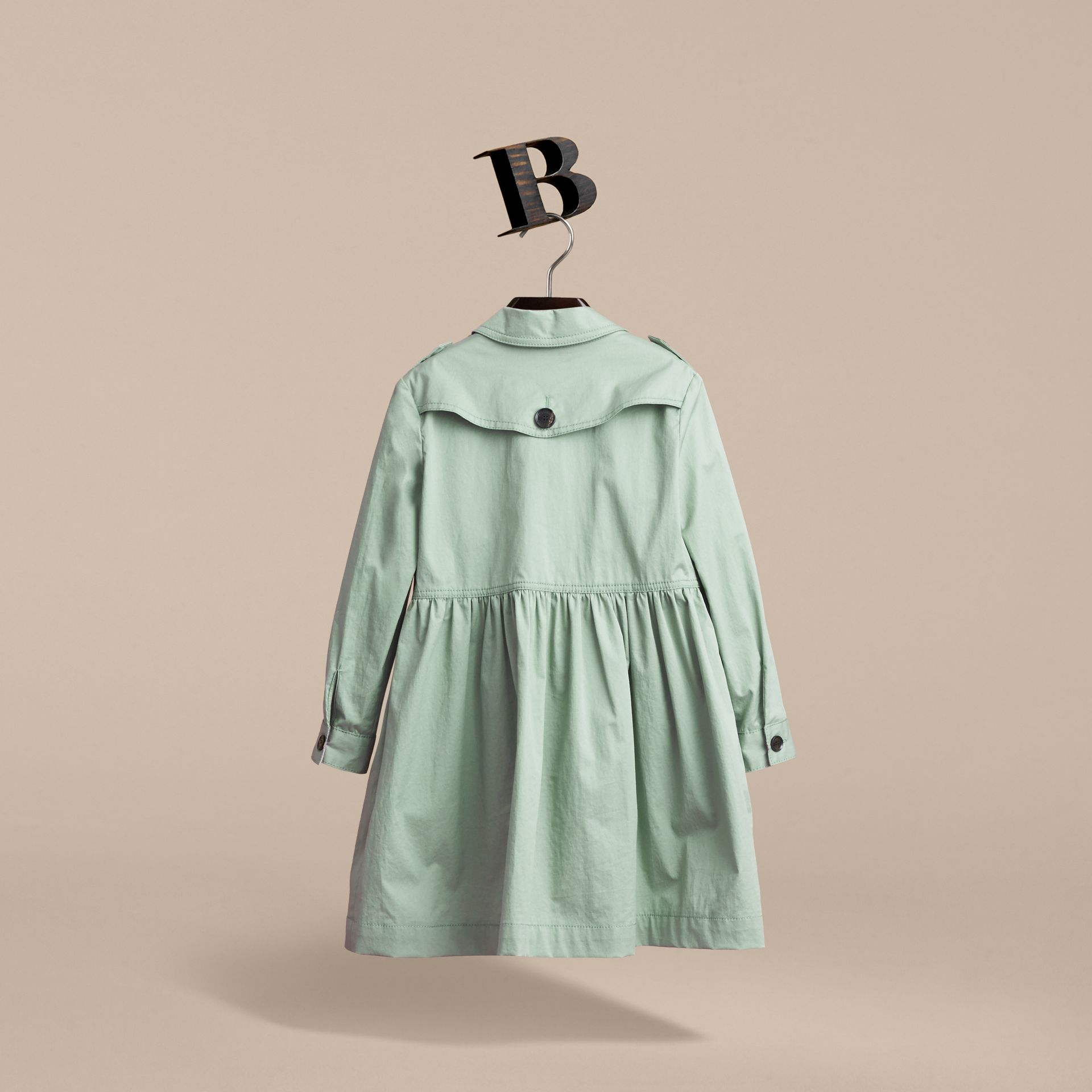 Check Detail Stretch Cotton Trench Dress in Celadon Green - Girl | Burberry - gallery image 3