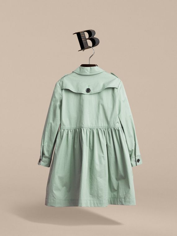 Check Detail Stretch Cotton Trench Dress in Celadon Green - Girl | Burberry Singapore - cell image 2