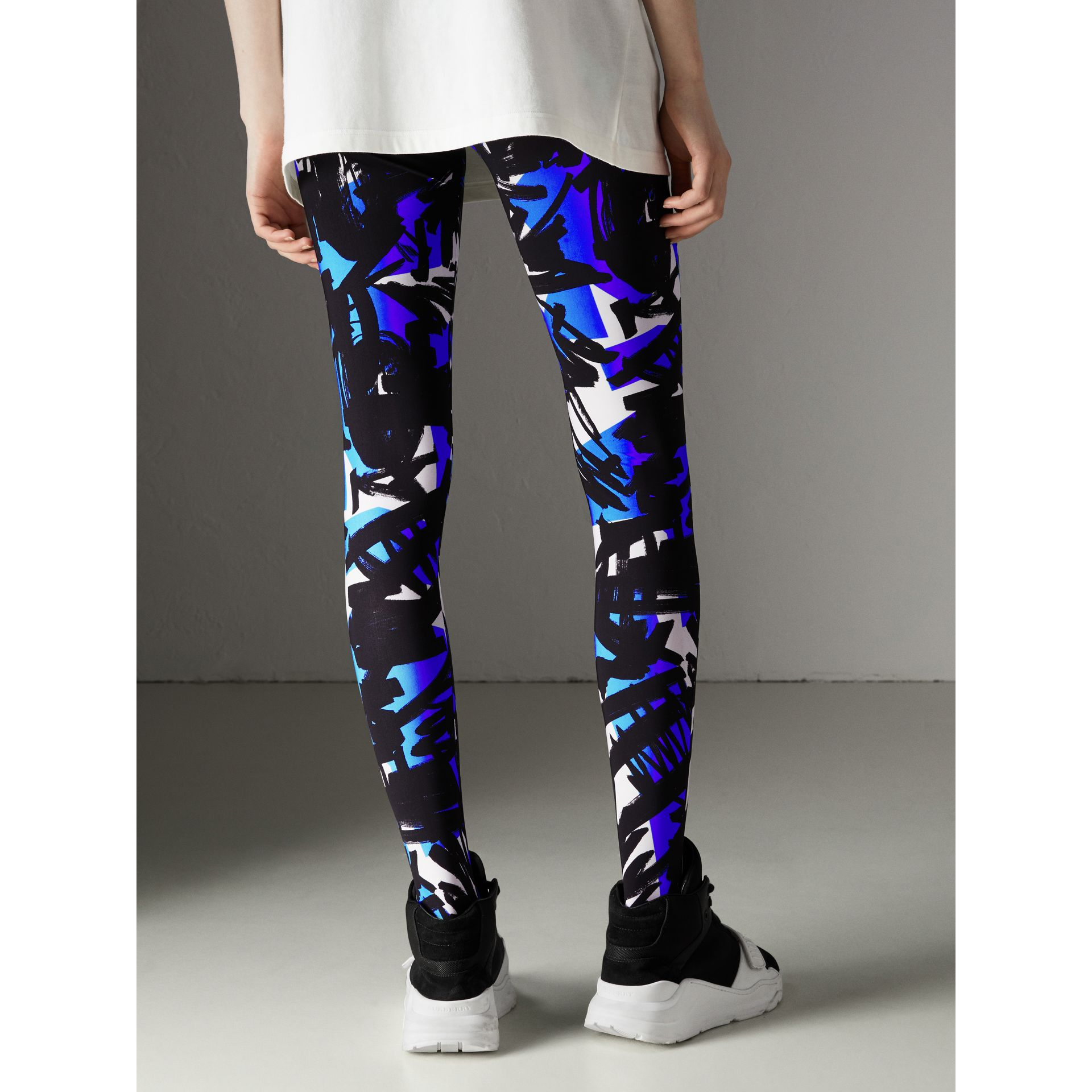 Graffiti Print Leggings in Brilliant Blue - Women | Burberry - gallery image 2