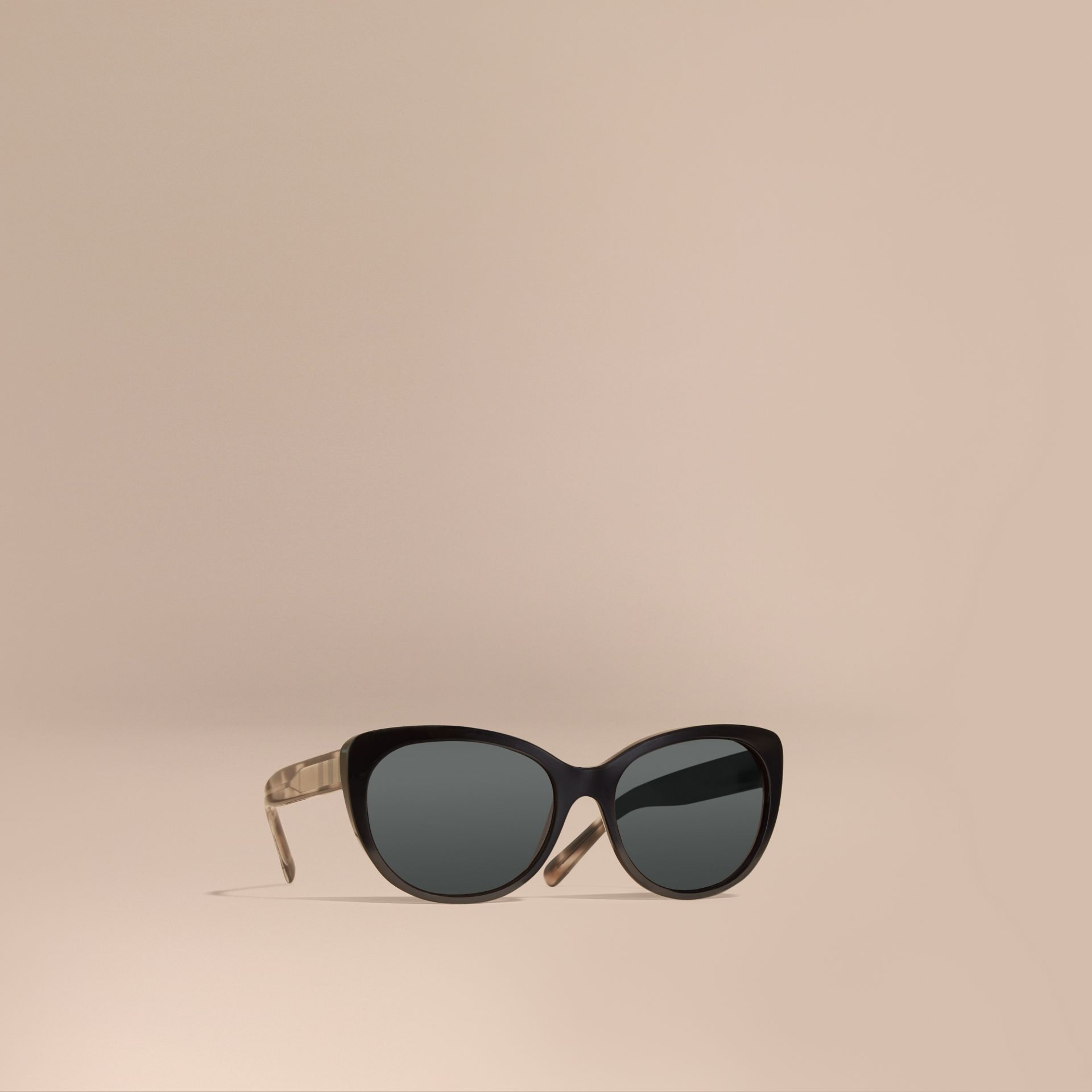 Black Gabardine Collection Oversize Round Frame Sunglasses - gallery image 1