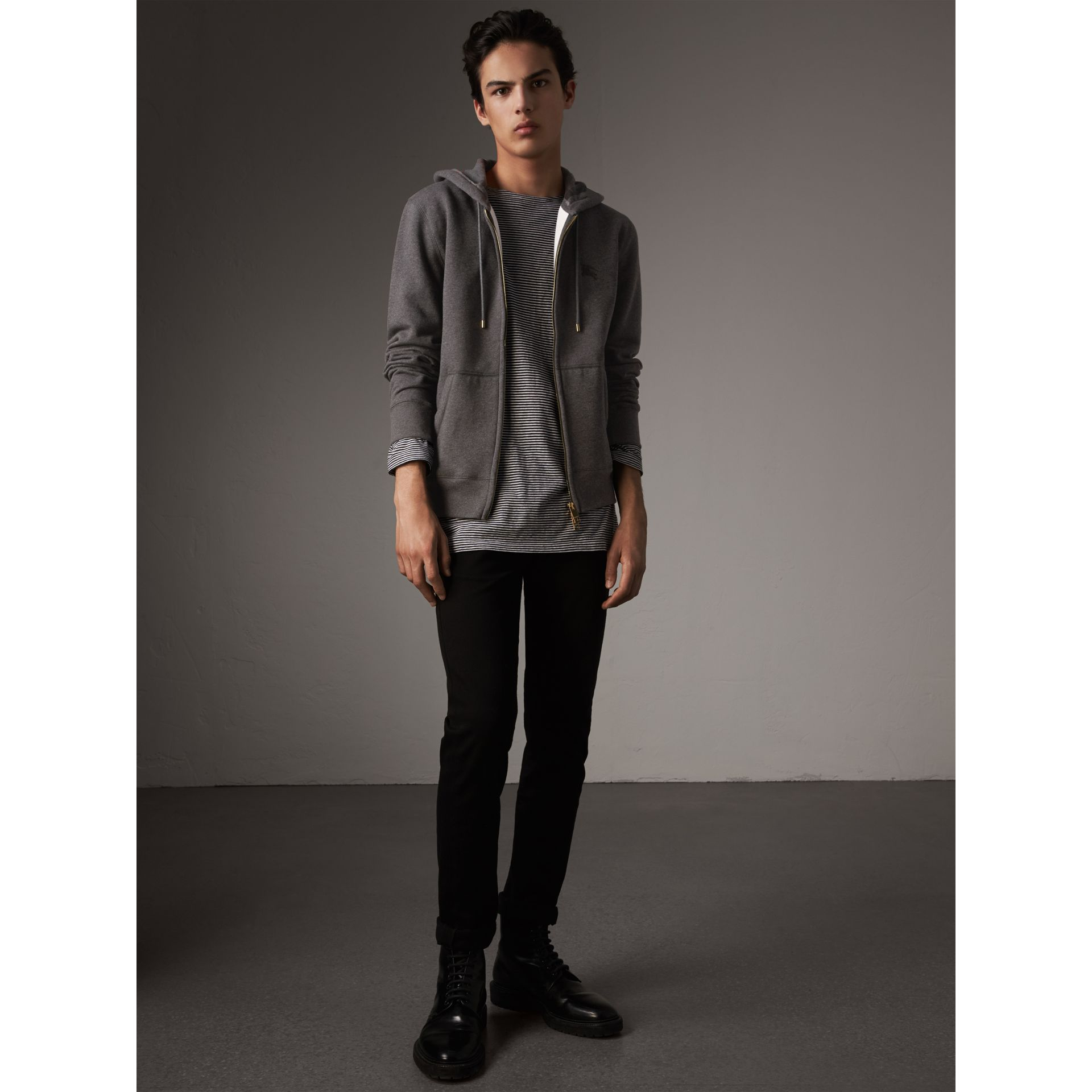 Hooded Cotton Jersey Top in Charcoal Melange - Men | Burberry - gallery image 5
