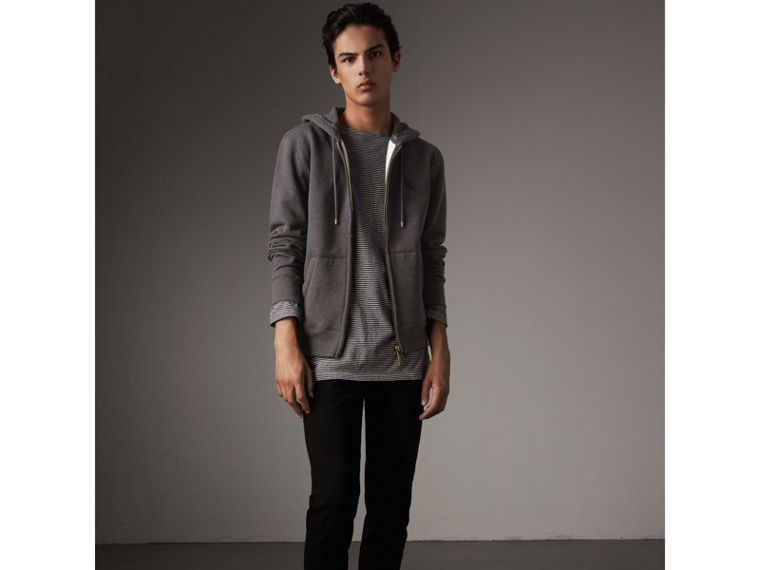 Hooded Cotton Jersey Top in Charcoal Melange - Men | Burberry - cell image 4