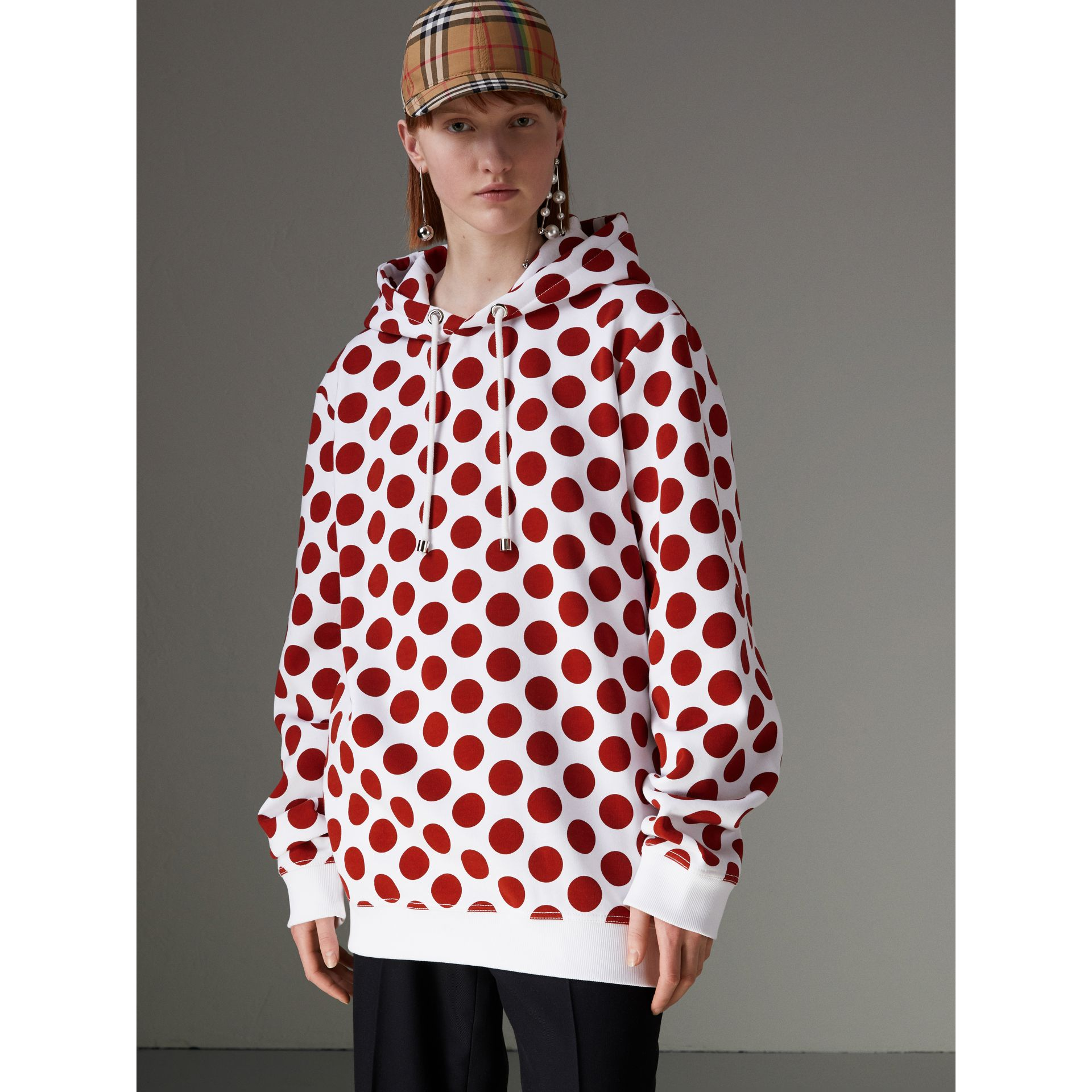 Sweat-shirt à capuche avec imprimé à pois (Rouge Windsor) - Femme | Burberry - photo de la galerie 1