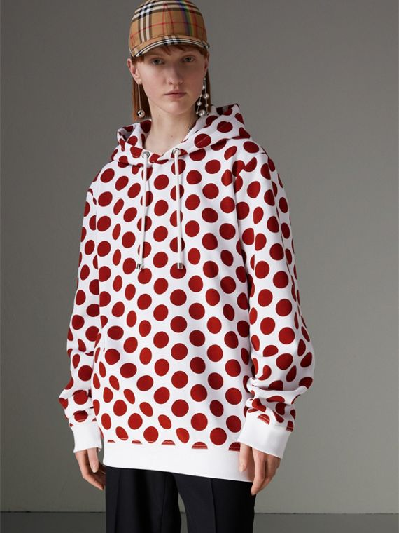 Spot Print Hoodie in Windsor Red