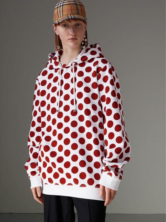 Spot Print Hoodie in Windsor Red - Women | Burberry Singapore - cell image 1