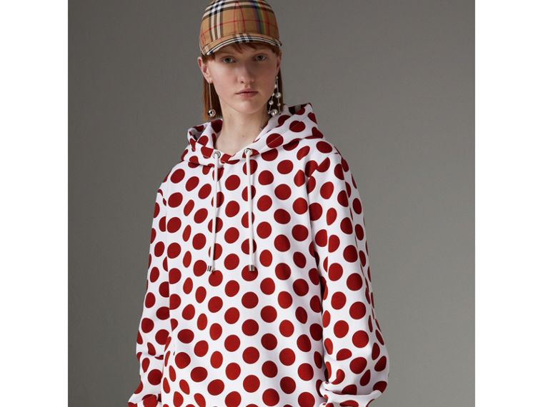 Spot Print Hoodie in Windsor Red - Women | Burberry Hong Kong - cell image 1