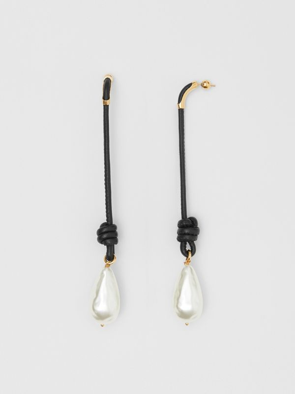 Faux Pearl Detail Leather Drop Earrings in Light Gold/black - Women | Burberry - cell image 2