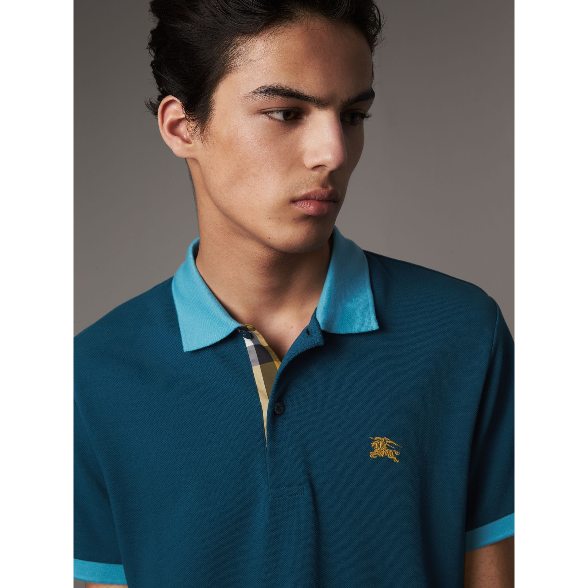 Two-tone Check Placket Cotton Piqué Polo Shirt in Mineral Blue - Men | Burberry - gallery image 2