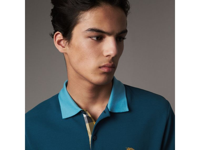 Two-tone Check Placket Cotton Piqué Polo Shirt in Mineral Blue - Men | Burberry - cell image 1