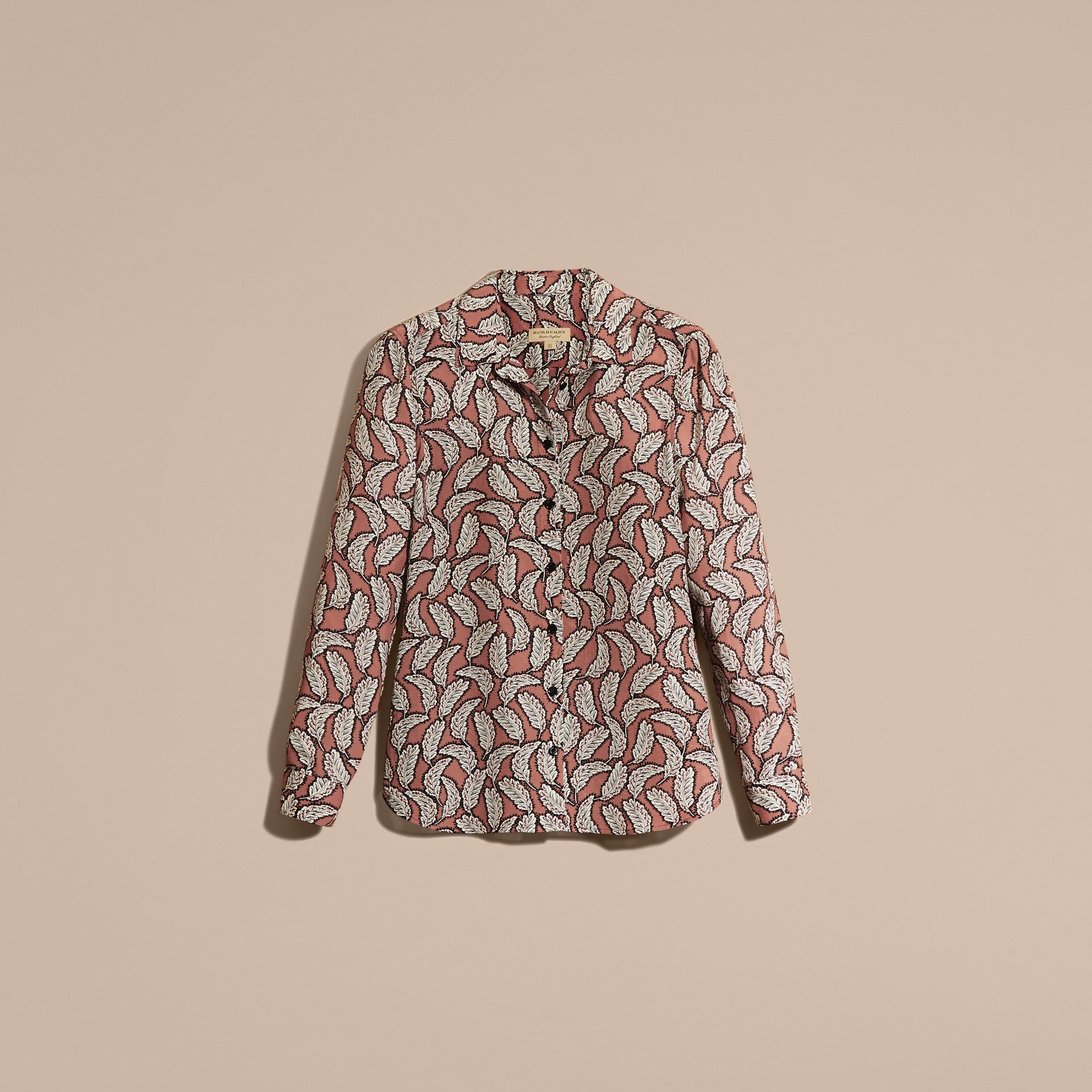 Rosa pálido Camisa de seda con estampado de hojas Rosa Pálido - imagen de la galería 4