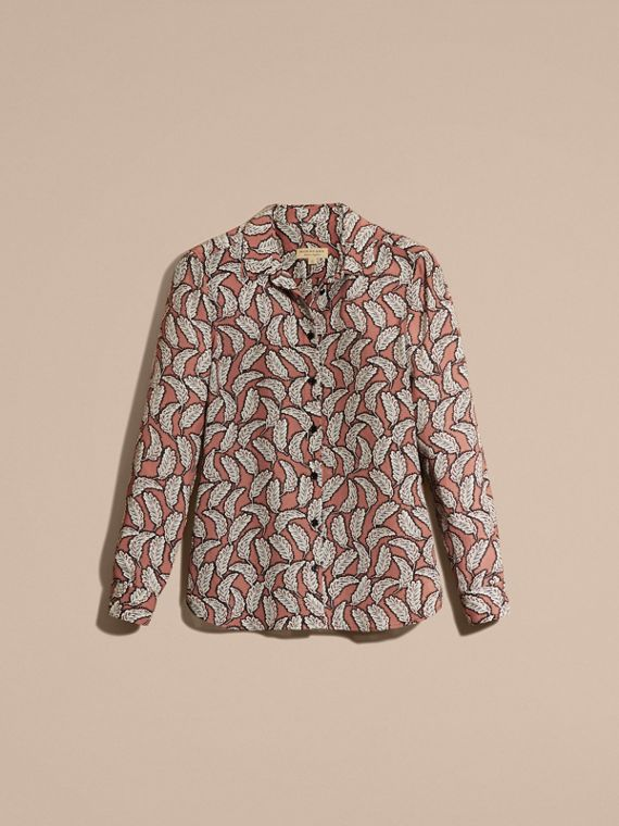 Pale pink Leaf Print Silk Shirt Pale Pink - cell image 3