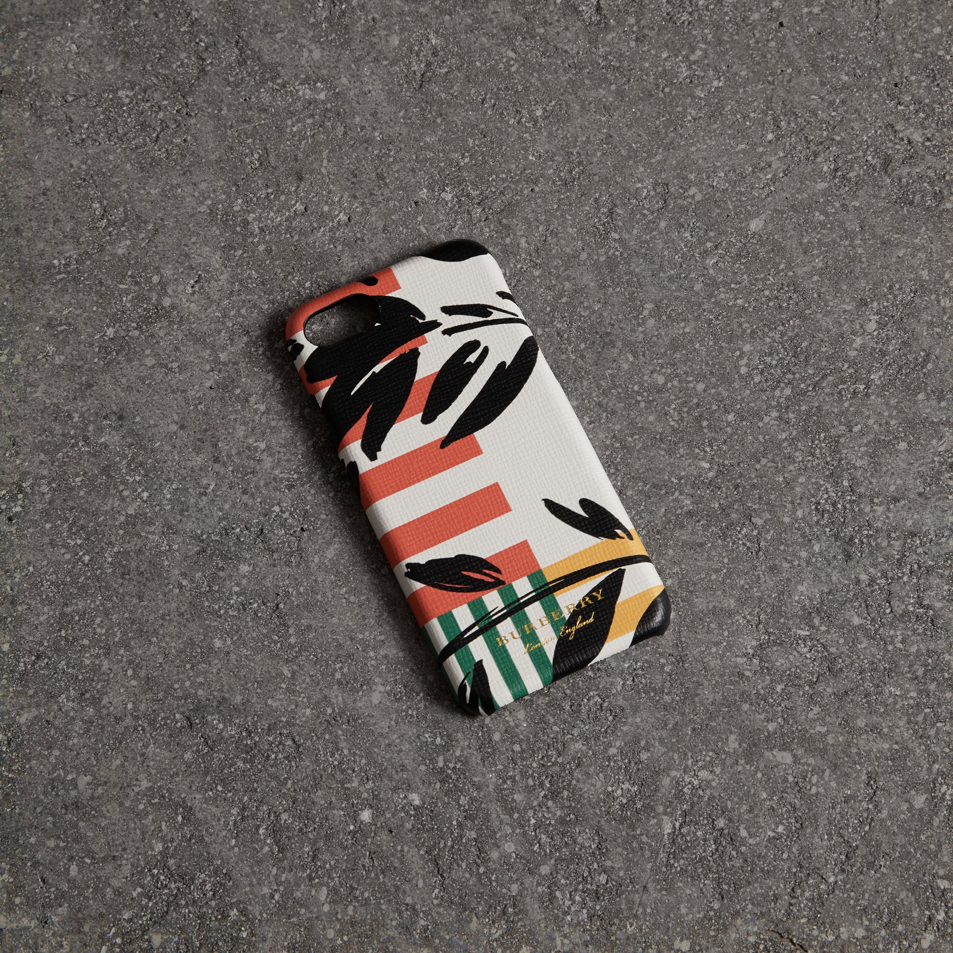 Floral Stripe Print Leather iPhone 8 Case in Patchwork | Burberry - gallery image 0