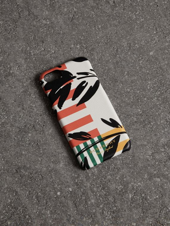 Floral Stripe Print Leather iPhone 8 Case in Patchwork