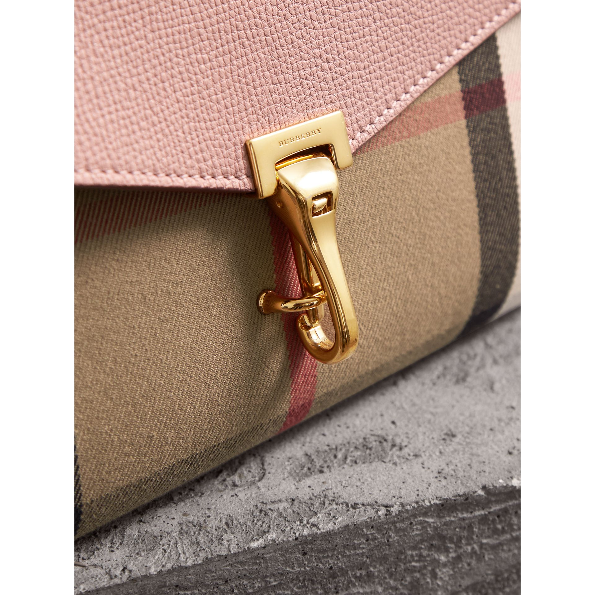 Small Leather and House Check Crossbody Bag in Pale Orchid - Women | Burberry Hong Kong - gallery image 1
