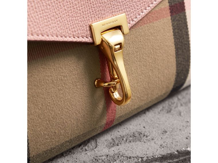 Small Leather and House Check Crossbody Bag in Pale Orchid - Women | Burberry Hong Kong - cell image 1