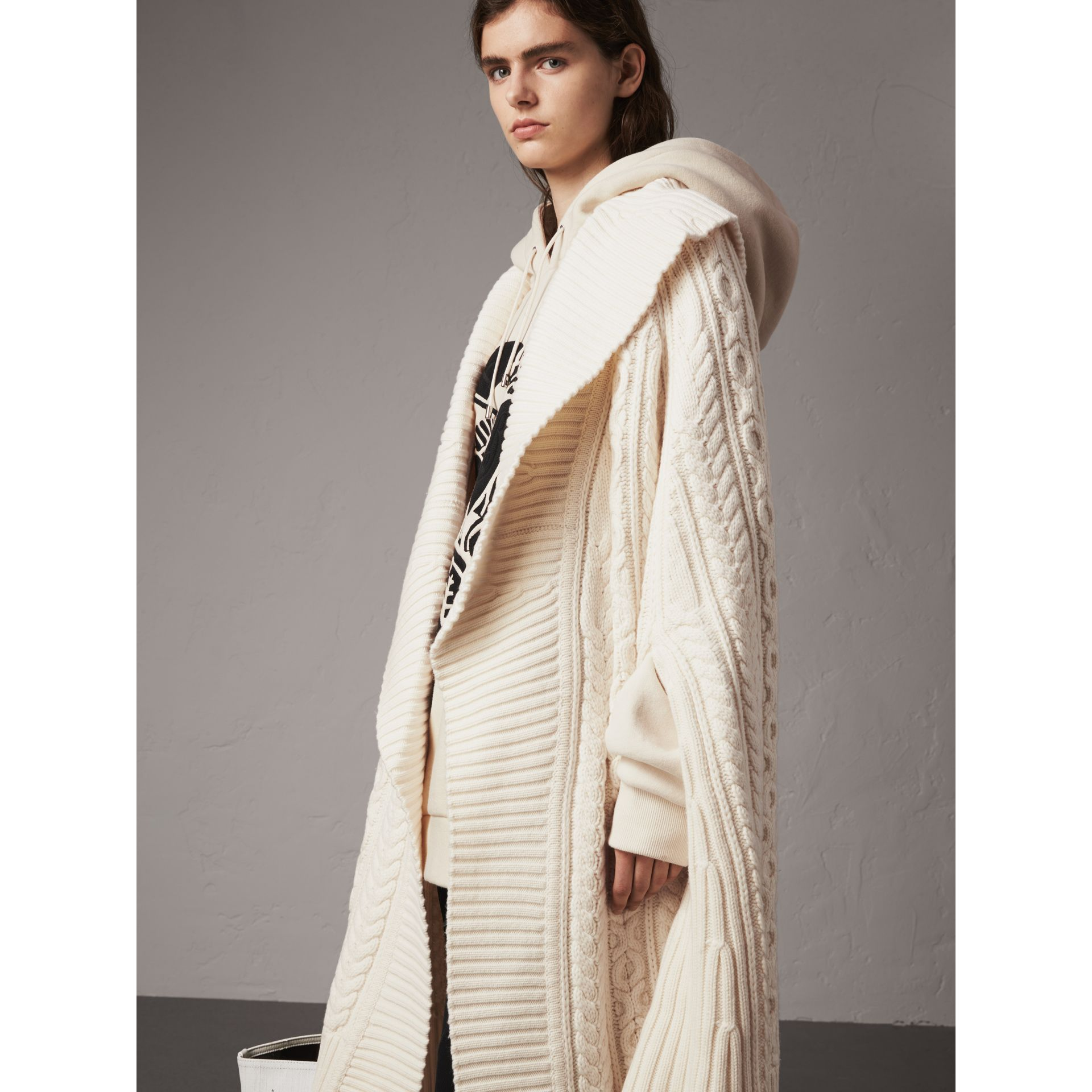 Cable Knit Wool Cashmere Poncho in Natural White - Women | Burberry - gallery image 7
