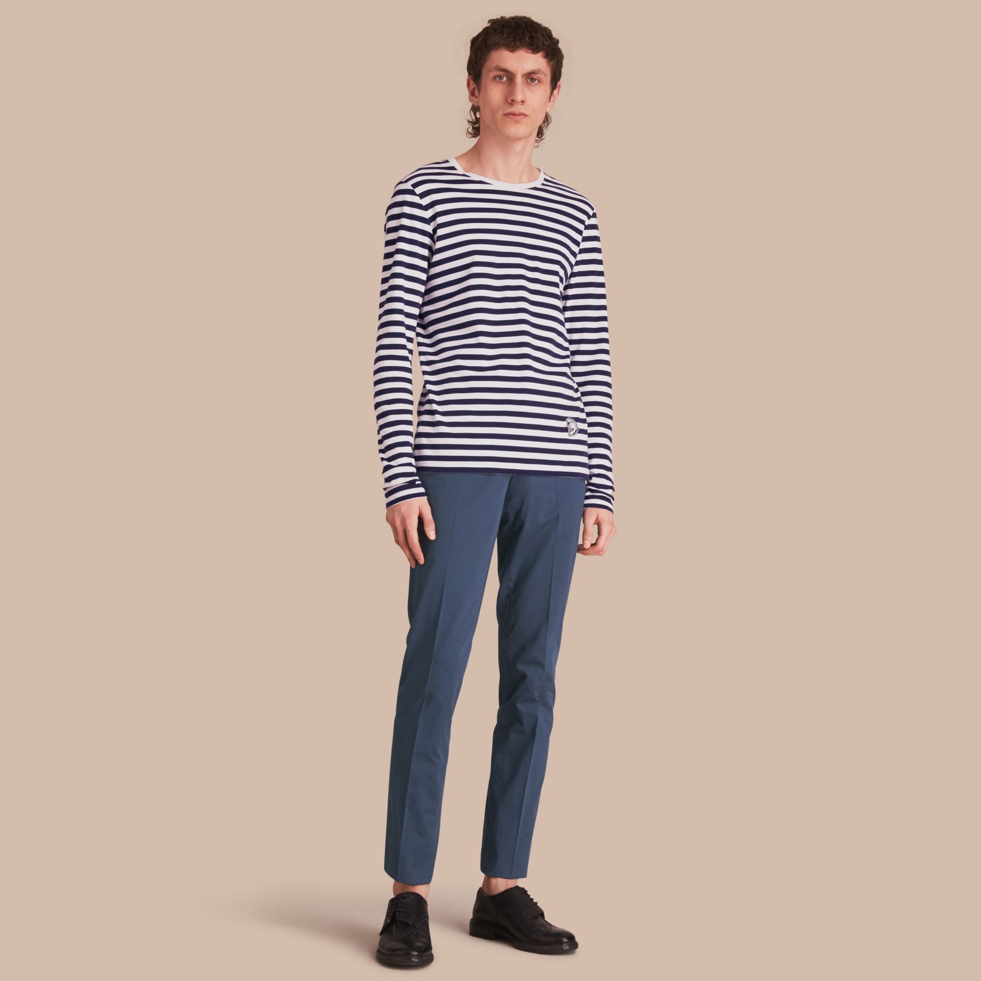 Slim Fit Stretch-Cotton Trousers - gallery image 1