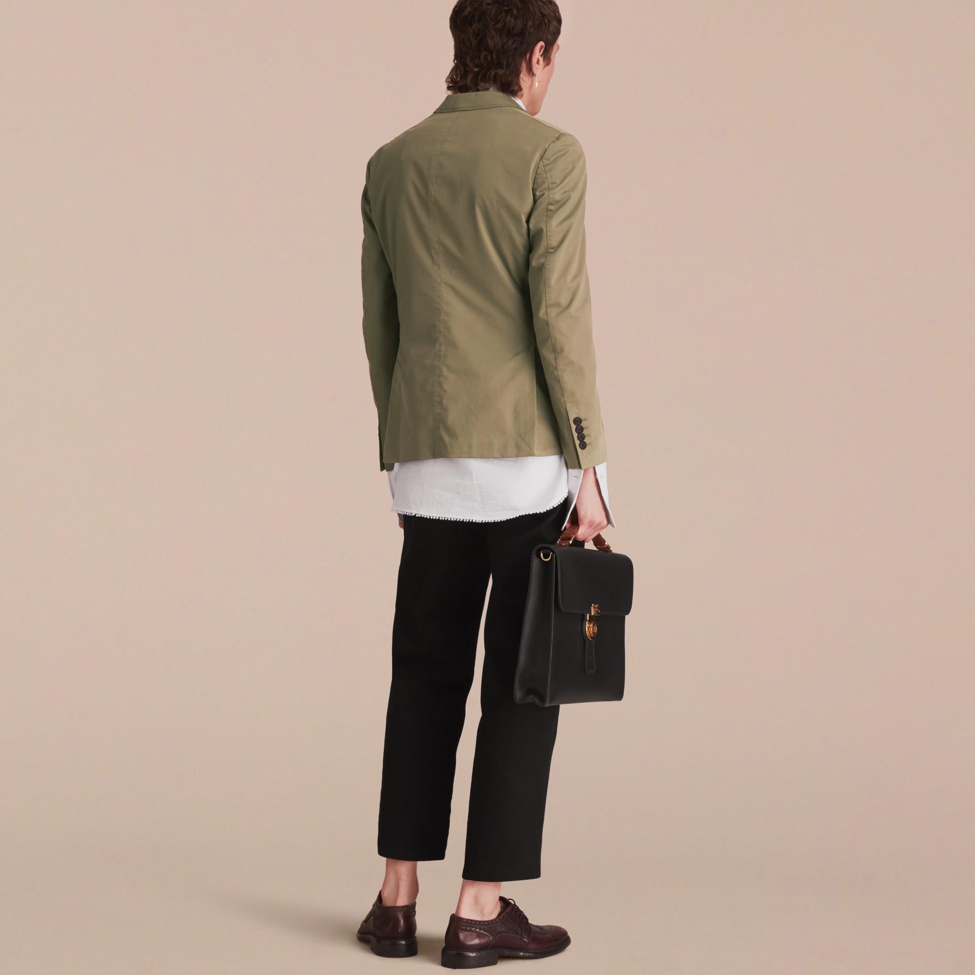 Slim Fit Stretch-cotton Blazer Khaki Green - gallery image 3