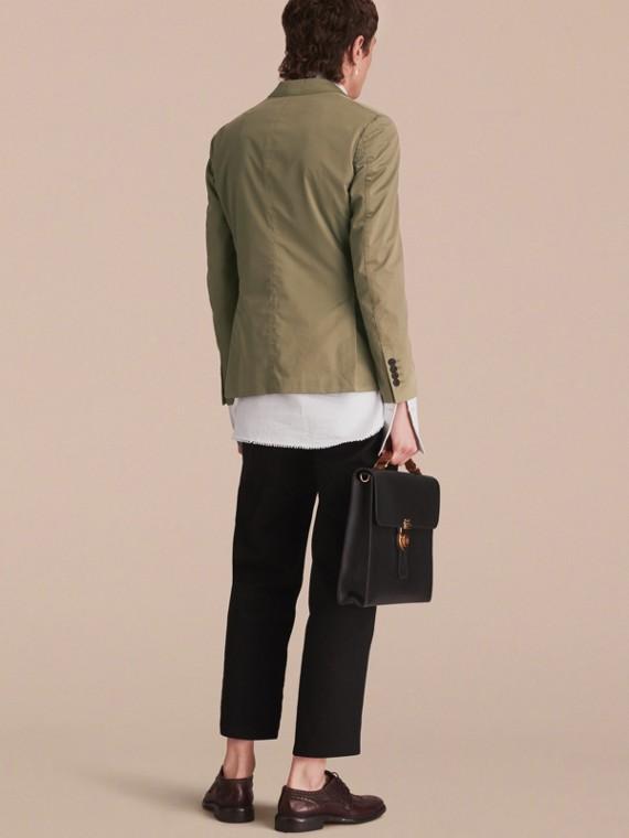 Slim Fit Stretch-cotton Blazer Khaki Green - cell image 2