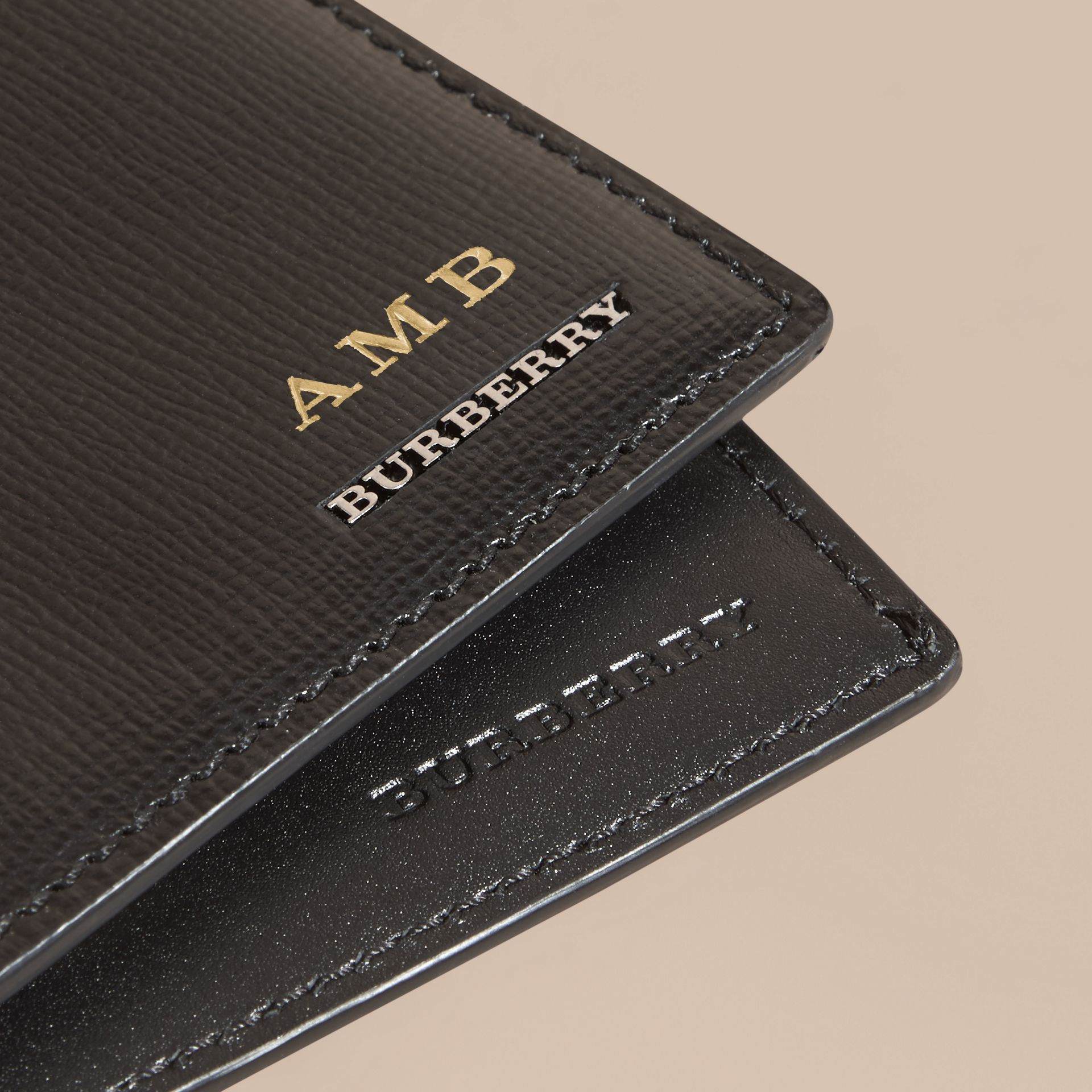 London Leather International Bifold Wallet in Black | Burberry - gallery image 7