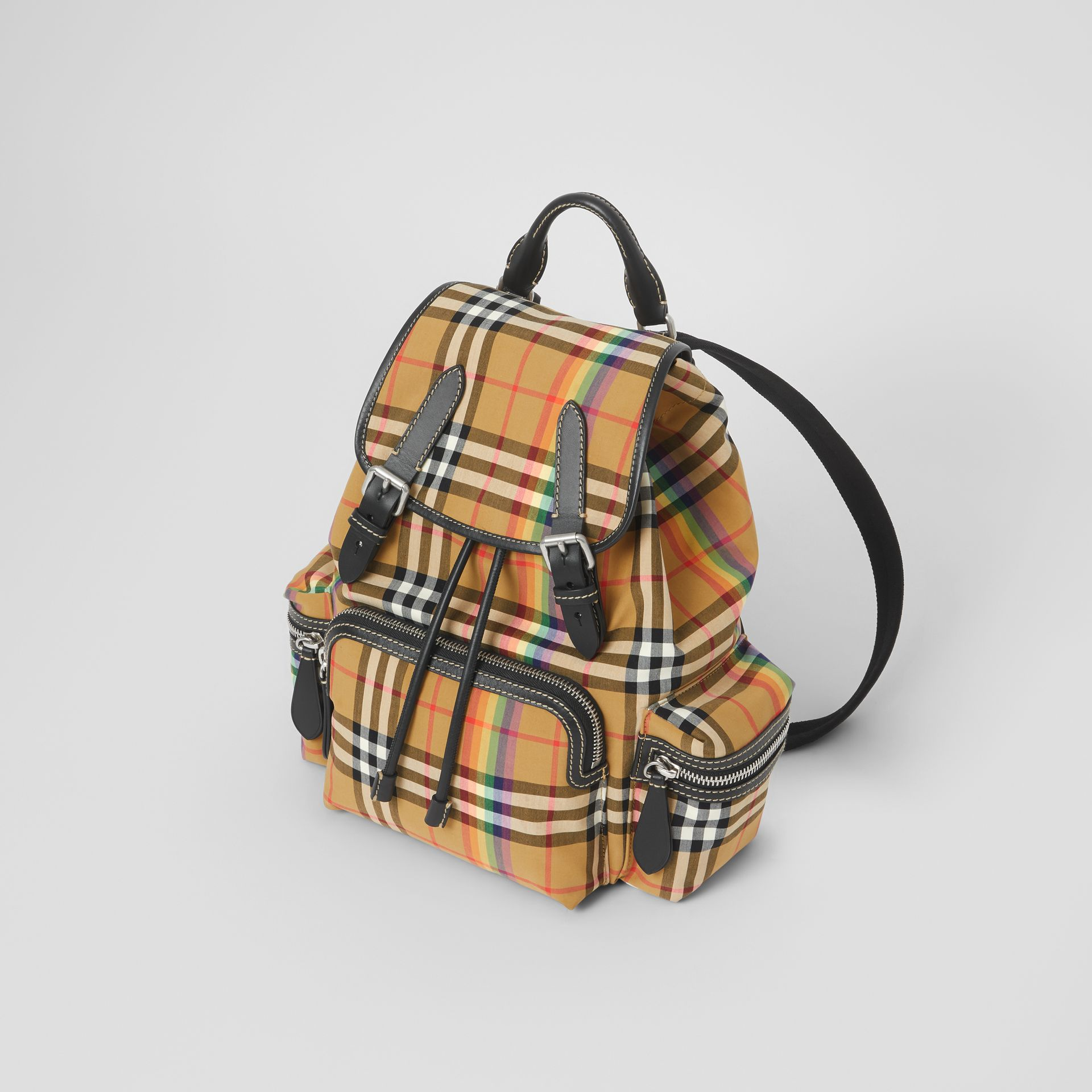 The Medium Rucksack in Rainbow Vintage Check in Antique Yellow - Women | Burberry United Kingdom - gallery image 4