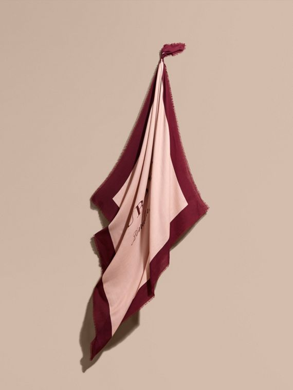 Burberry Print Cashmere Blend Scarf Rose/garnet
