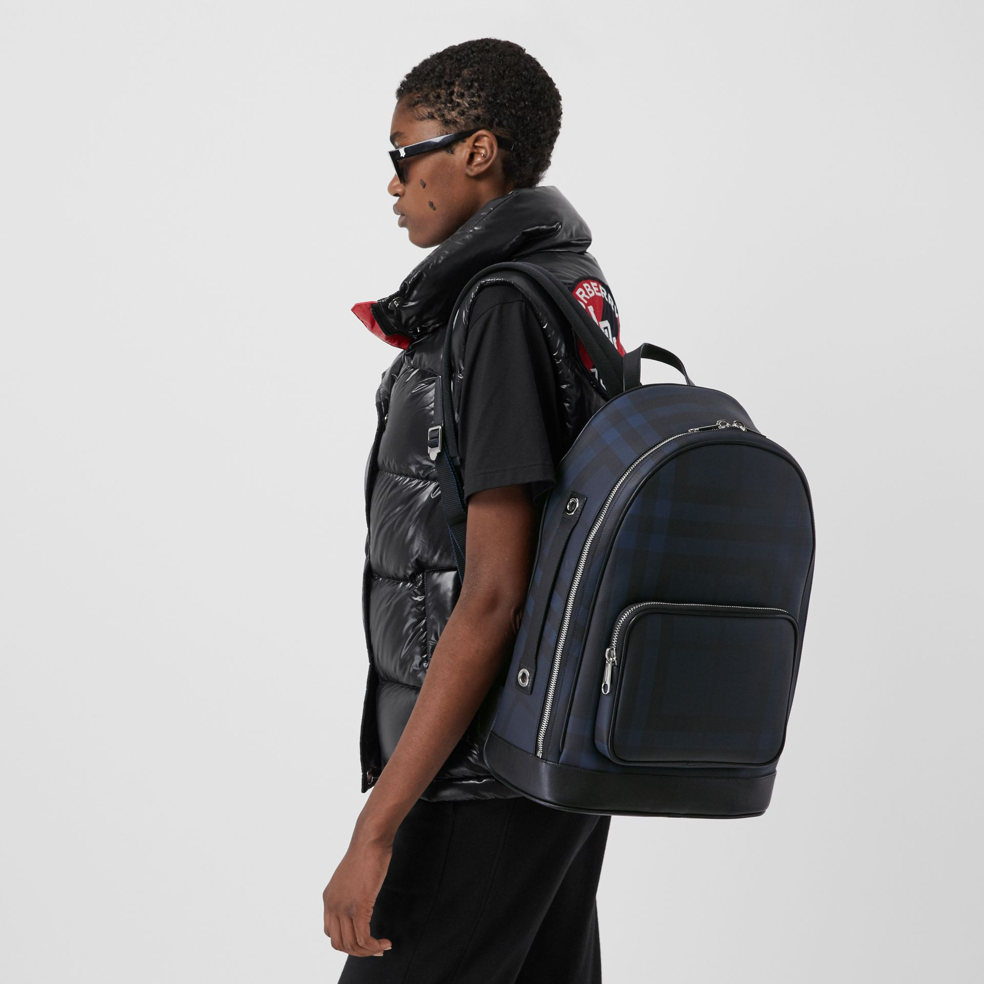 London Check and Leather Backpack in Navy | Burberry - gallery image 6