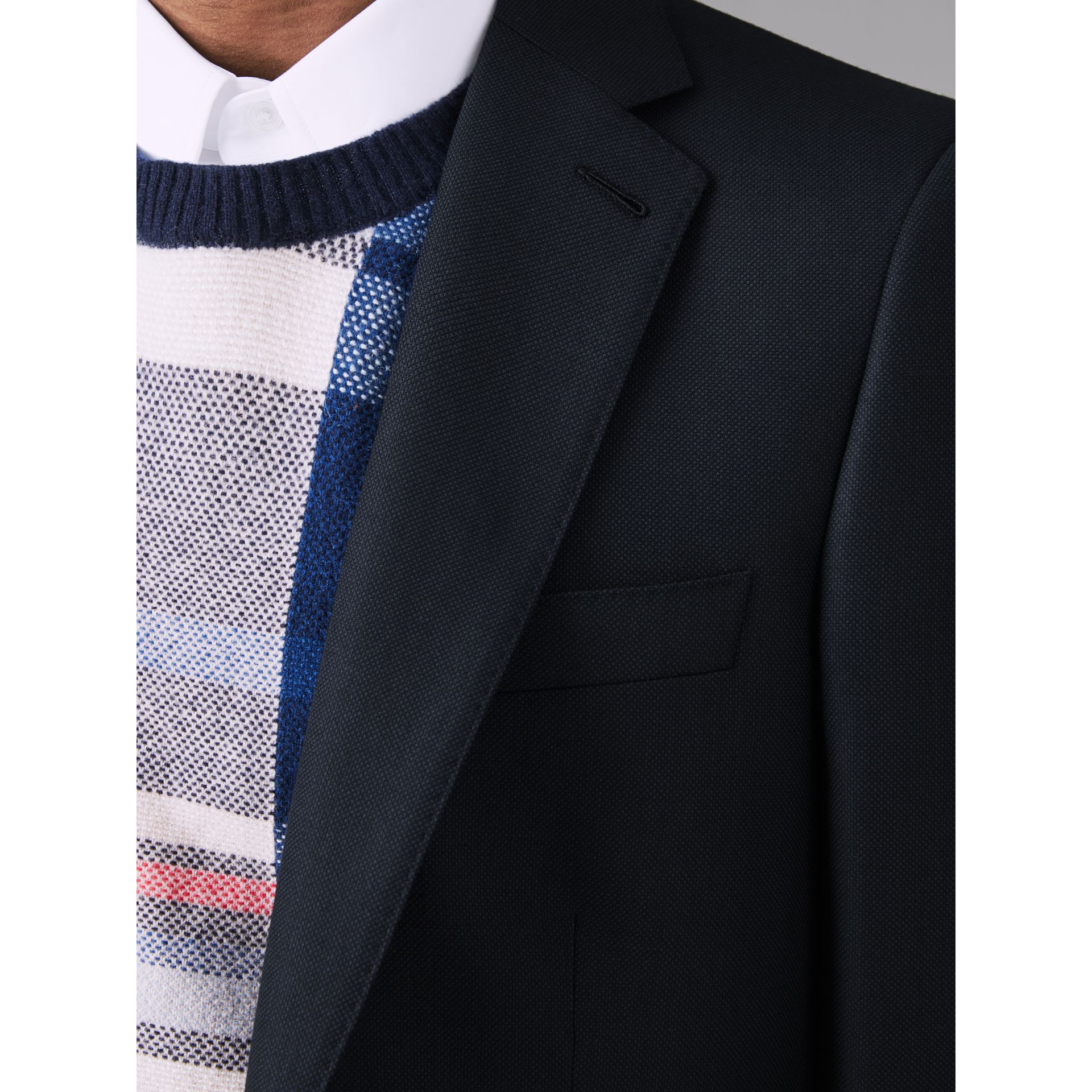 Slim Fit Birdseye Wool Suit in Navy - Men | Burberry - gallery image 4