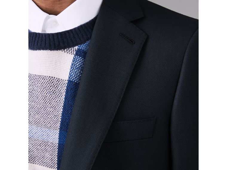 Slim Fit Birdseye Wool Suit in Navy - Men | Burberry United Kingdom - cell image 4