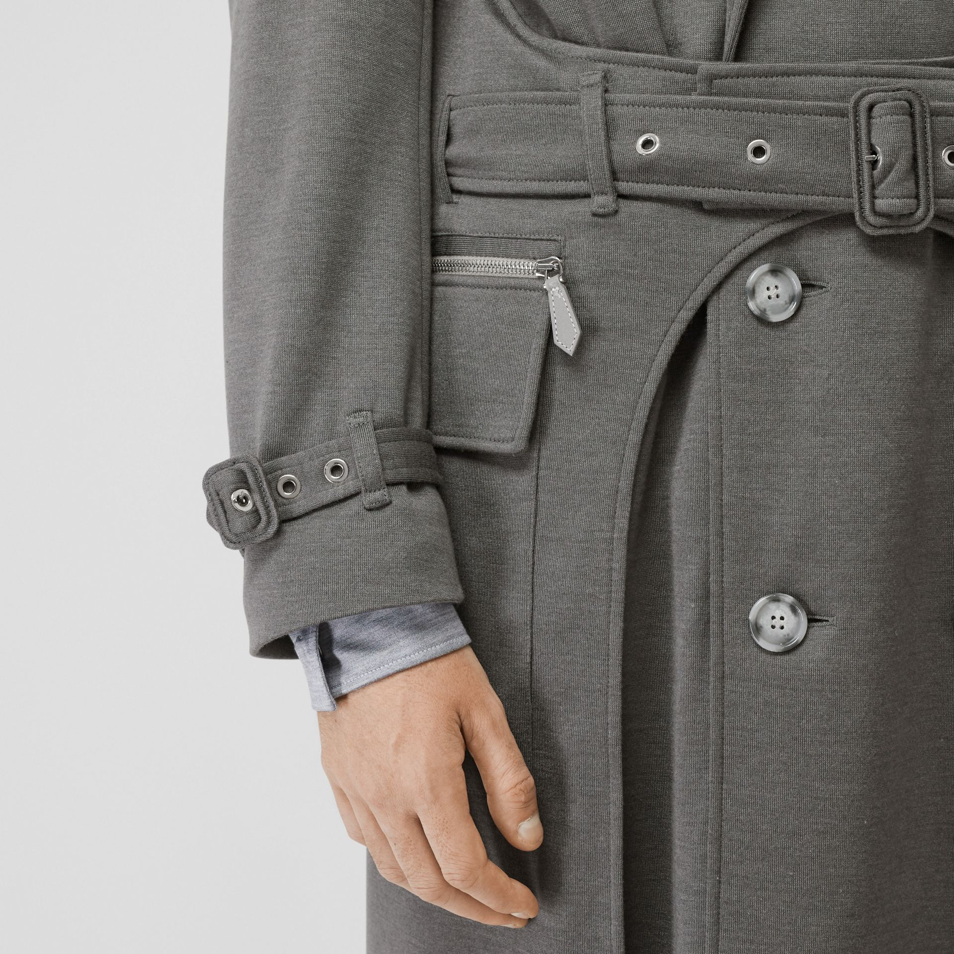 Cargo Pocket Detail Cashmere Silk Trench Coat in Cloud Grey - Men | Burberry - gallery image 7
