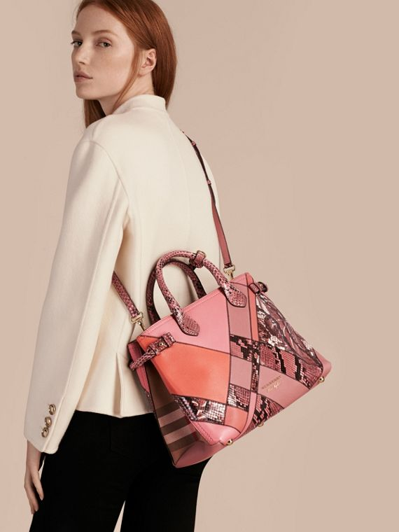 The Medium Banner in Patchwork Leather and Python in Dusty Pink - Women | Burberry - cell image 3