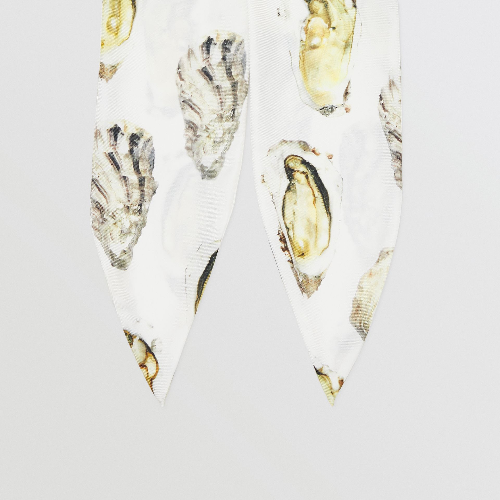 Oyster Print Silk Hair Scarf in White | Burberry - gallery image 3