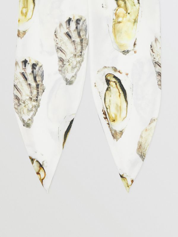 Oyster Print Silk Hair Scarf in White | Burberry - cell image 3