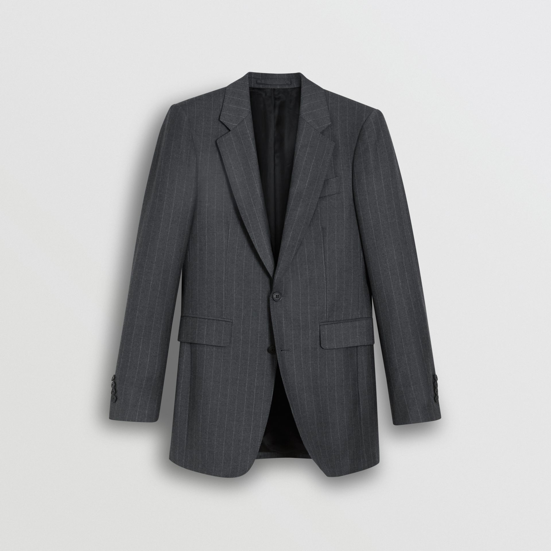 Slim Fit Pinstriped Wool Cashmere Suit in Mid Grey - Men | Burberry Australia - gallery image 3