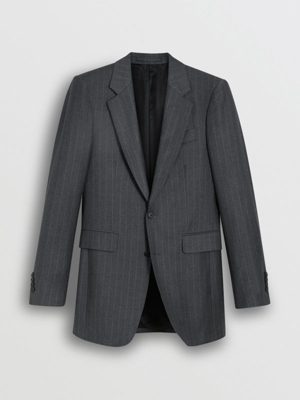 Slim Fit Pinstriped Wool Cashmere Suit in Mid Grey - Men | Burberry Australia - cell image 3