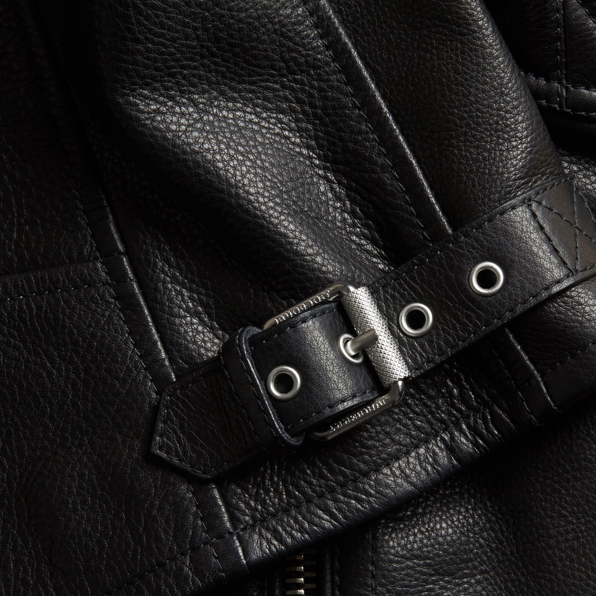 Black Stripe Detail Leather Jacket - gallery image 2