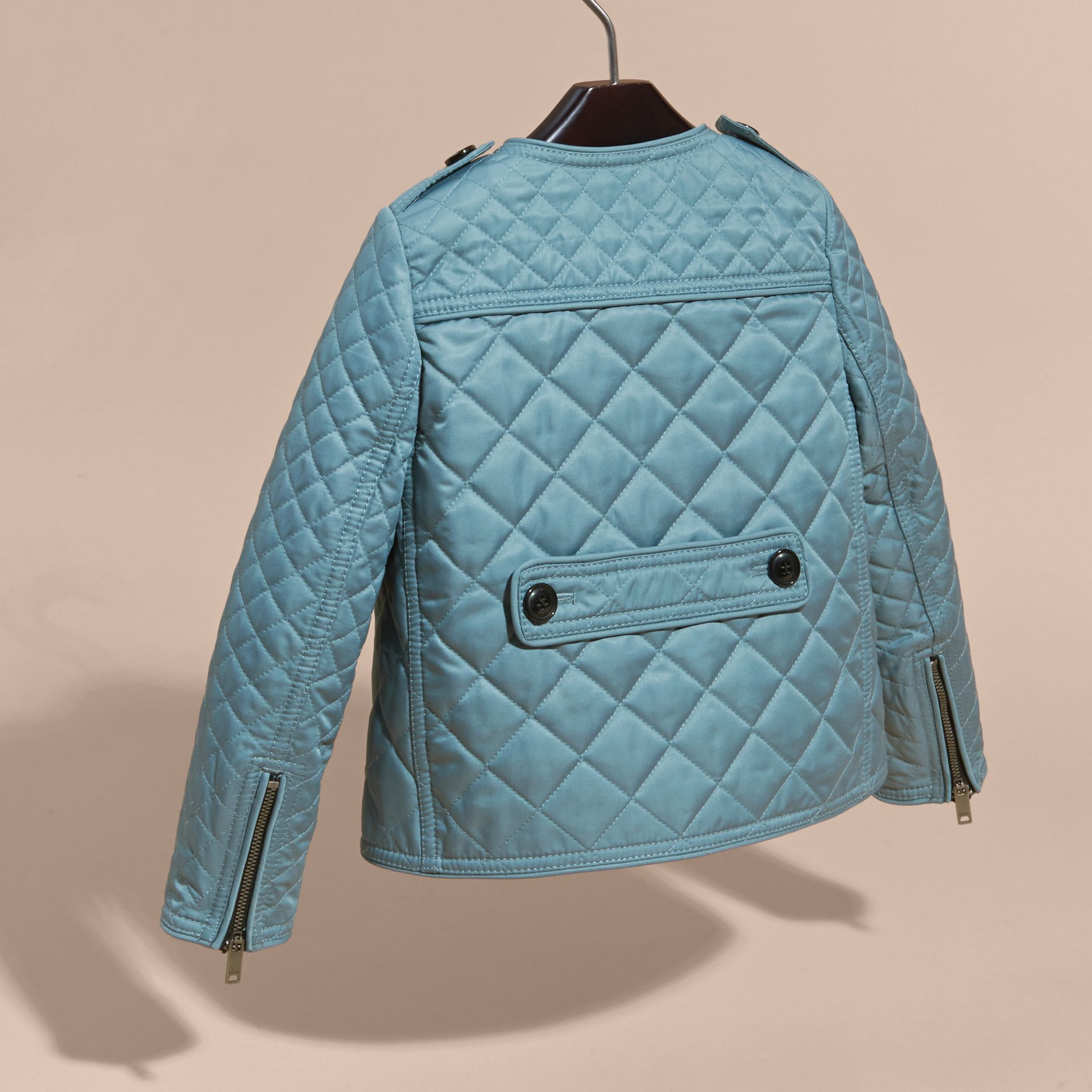 Collarless Diamond Quilted Jacket Dusty Teal Blue - gallery image 4