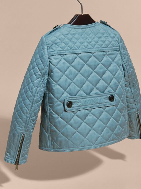 Collarless Diamond Quilted Jacket Dusty Teal Blue - cell image 3