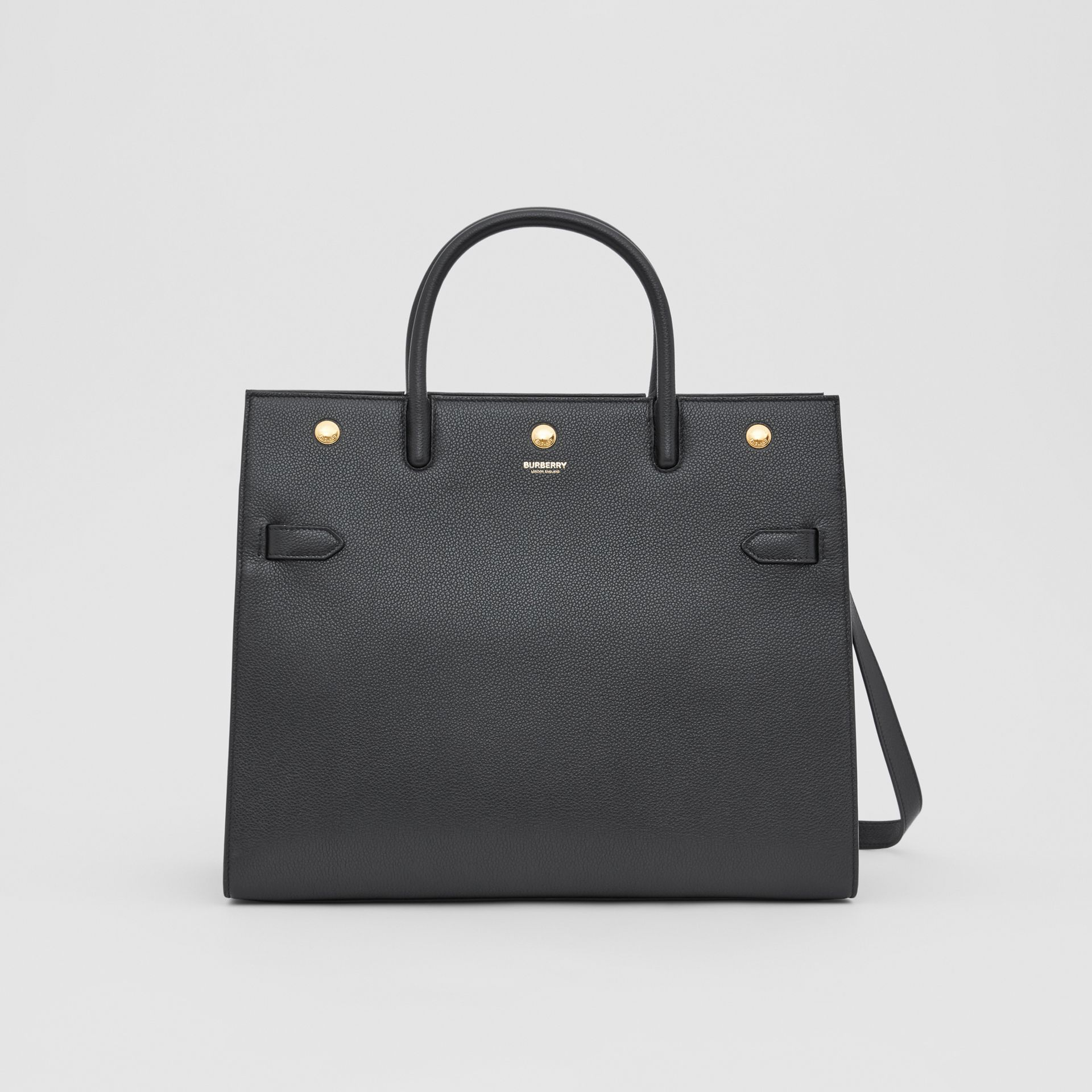 Medium Leather Two-handle Title Bag in Black - Women | Burberry - gallery image 0