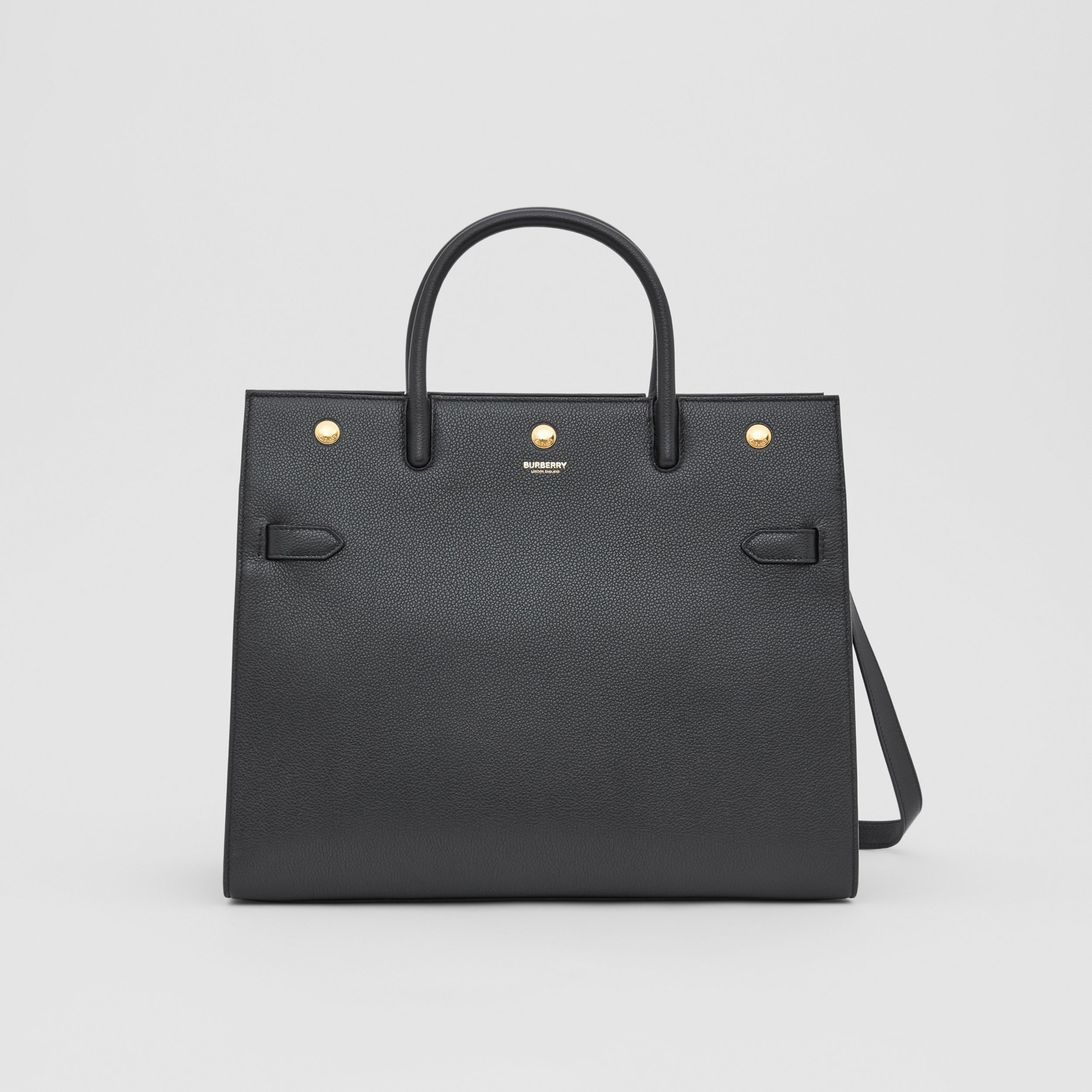 Medium Leather Two-handle Title Bag in Black - Women | Burberry Australia - 1